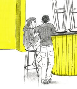 Enno und Moritz trinken Kaffee und unterhalten sich, bestimmt über was Politisches. Ich trinke lieber keinen Kaffee, davon werde ich noch zappeliger.