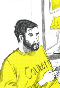 """Birger hat einen lässigen Pulli, denke ich. Er surft bisschen im Internet, ich kann's ihm nicht verübeln. Vielleicht googelt er das Wort """"Besprechung""""."""
